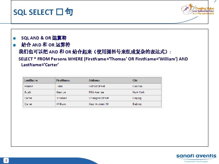 SQL SELECT � 句 SQL AND & OR 运算符 结合 AND 和 OR 运算符