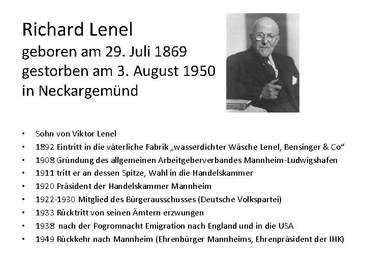 Richard Lenel geboren am 29. Juli 1869 gestorben am 3. August 1950 in Neckargemünd