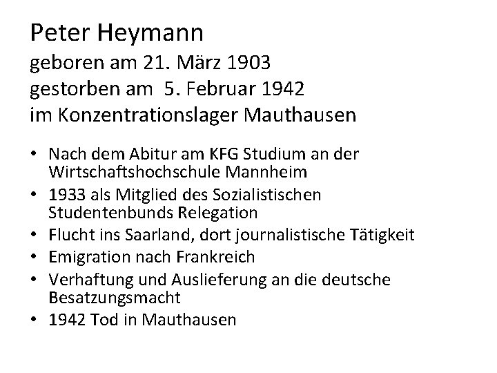 Peter Heymann geboren am 21. März 1903 gestorben am 5. Februar 1942 im Konzentrationslager