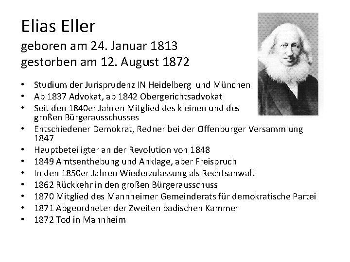 Elias Eller geboren am 24. Januar 1813 gestorben am 12. August 1872 • Studium
