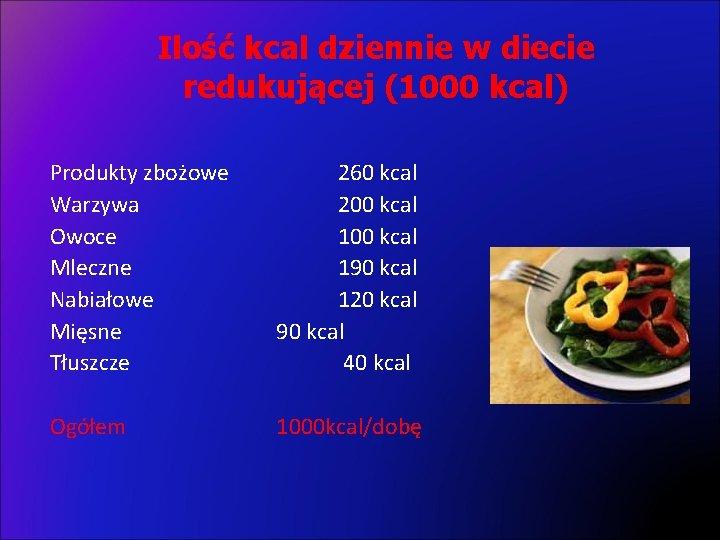 Ilość kcal dziennie w diecie redukującej (1000 kcal) Produkty zbożowe Warzywa Owoce Mleczne Nabiałowe