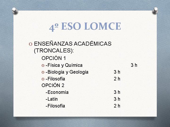 4º ESO LOMCE O ENSEÑANZAS ACADÉMICAS (TRONCALES): OPCIÓN 1 O -Física y Química O