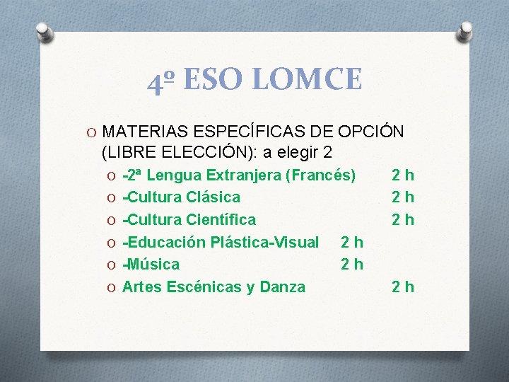 4º ESO LOMCE O MATERIAS ESPECÍFICAS DE OPCIÓN (LIBRE ELECCIÓN): a elegir 2 O