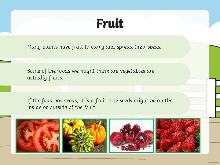 Fruit Many plants have fruit to carry and spread their seeds. Some of the