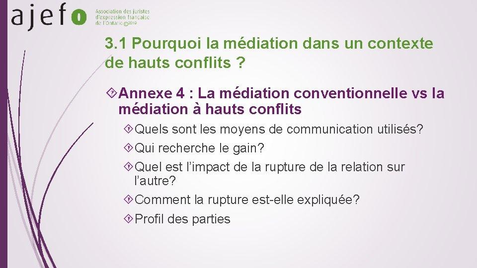 © 2019 3. 1 Pourquoi la médiation dans un contexte de hauts conflits ?