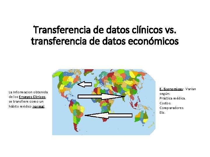 Transferencia de datos clínicos vs. transferencia de datos económicos La Informacion obtenida de los