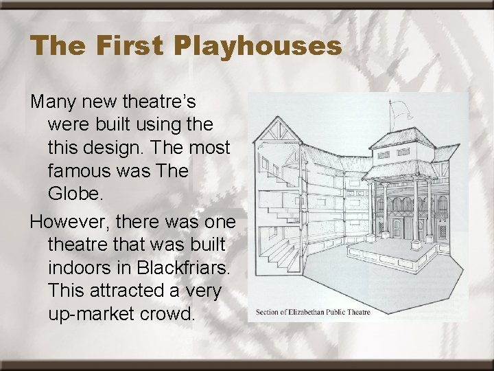 The First Playhouses Many new theatre's were built using the this design. The most