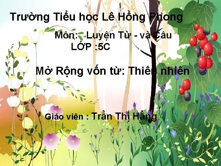 Trường Tiểu học Lê Hồng Phong Môn: Luyện Từ - và Câu LỚP :