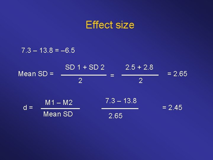 Effect size 7. 3 – 13. 8 = – 6. 5 Mean SD =