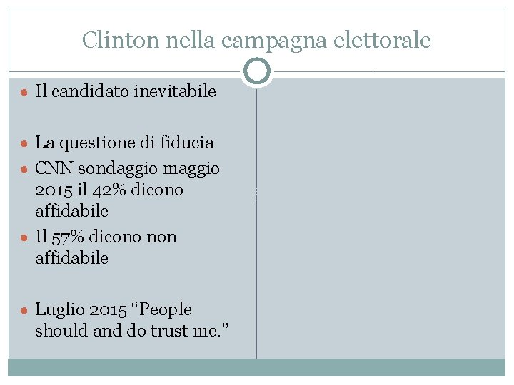Clinton nella campagna elettorale ● Il candidato inevitabile ● La questione di fiducia ●