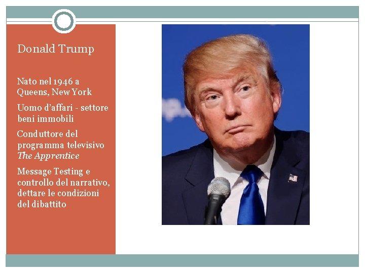 Donald Trump Nato nel 1946 a Queens, New York Uomo d'affari - settore beni