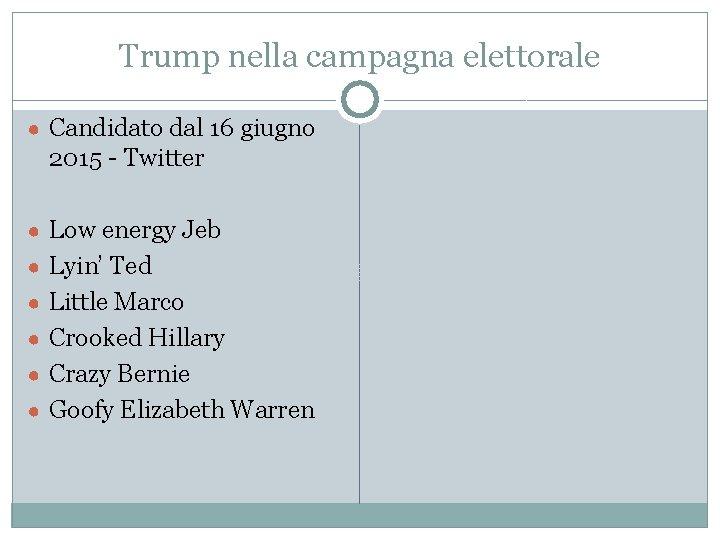 Trump nella campagna elettorale ● Candidato dal 16 giugno 2015 - Twitter ● Low