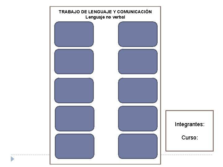 TRABAJO DE LENGUAJE Y COMUNICACIÓN Lenguaje no verbal Integrantes: Curso: