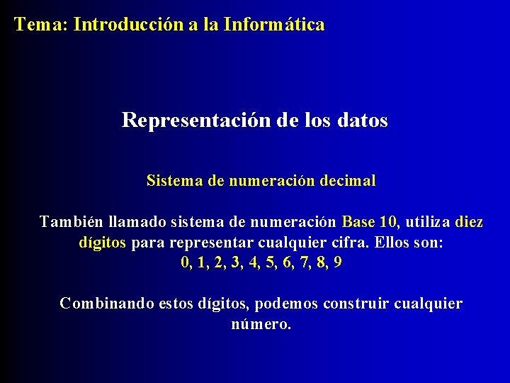 Tema: Introducción a la Informática Representación de los datos Sistema de numeración decimal También