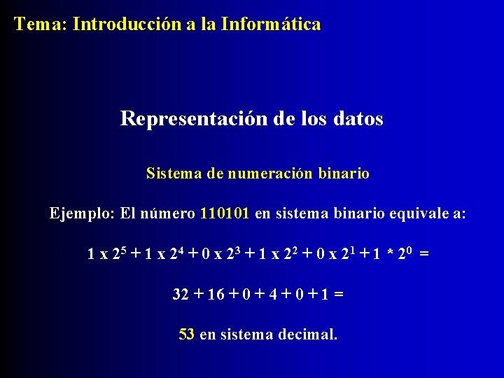 Tema: Introducción a la Informática Representación de los datos Sistema de numeración binario Ejemplo: