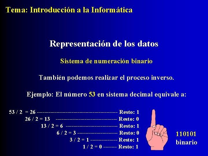 Tema: Introducción a la Informática Representación de los datos Sistema de numeración binario También