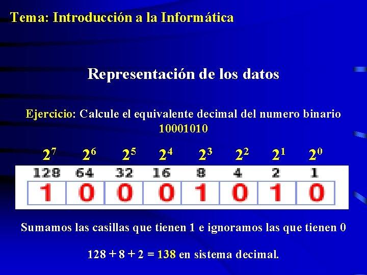 Tema: Introducción a la Informática Representación de los datos Ejercicio: Calcule el equivalente decimal