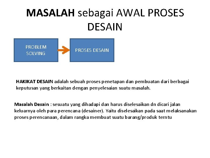 MASALAH sebagai AWAL PROSES DESAIN PROBLEM SOLVING PROSES DESAIN HAKIKAT DESAIN adalah sebuah proses