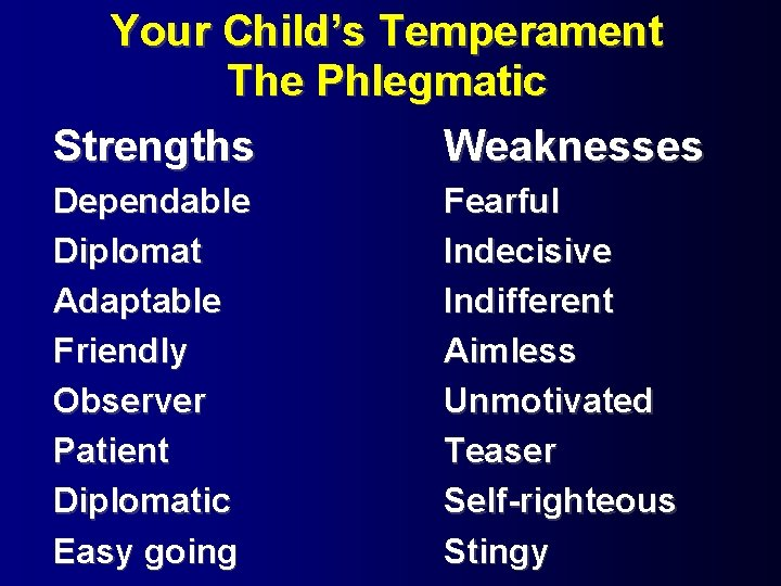 Personality test phlegmatic Four Temperaments: