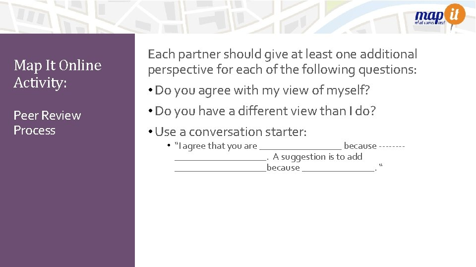Map It Online Activity: Peer Review Process Each partner should give at least one