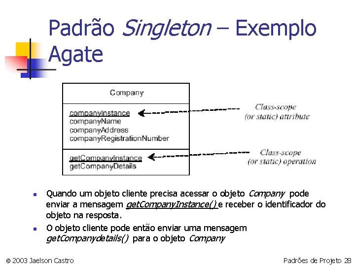 Padrão Singleton – Exemplo Agate n n Quando um objeto cliente precisa acessar o