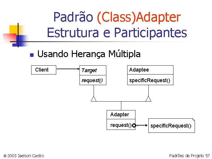 Padrão (Class)Adapter Estrutura e Participantes n Usando Herança Múltipla Client Target Adaptee request() specific.