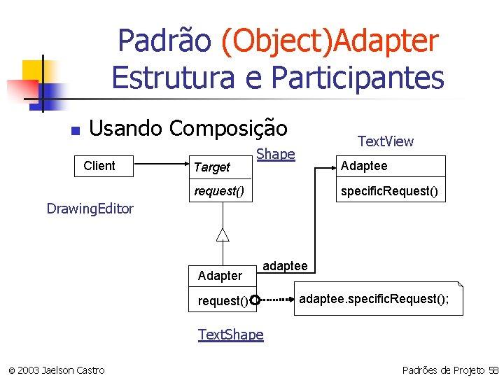 Padrão (Object)Adapter Estrutura e Participantes n Usando Composição Client Target Text. View Shape Adaptee