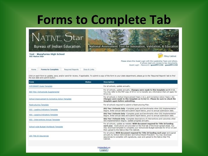 Forms to Complete Tab