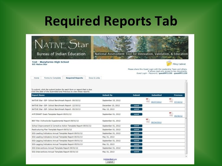 Required Reports Tab