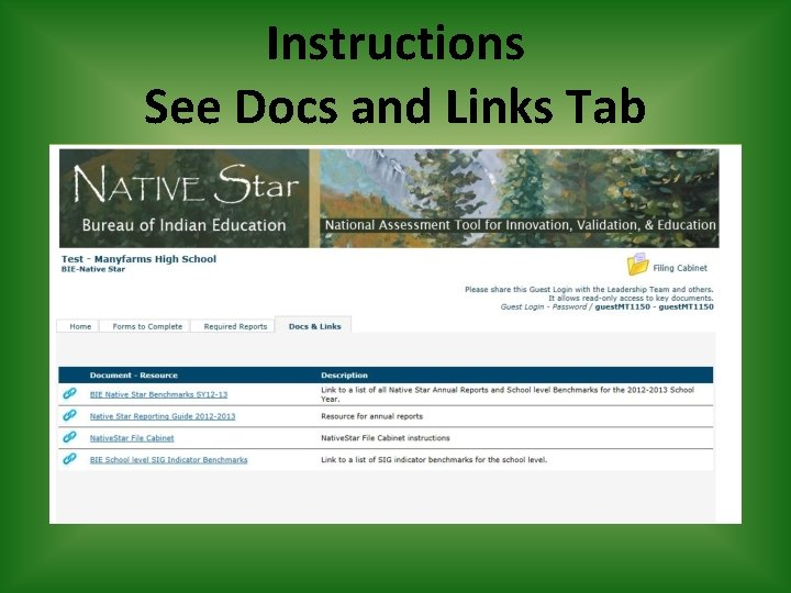 Instructions See Docs and Links Tab