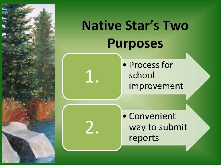 Native Star's Two Purposes 1. • Process for school improvement 2. • Convenient way
