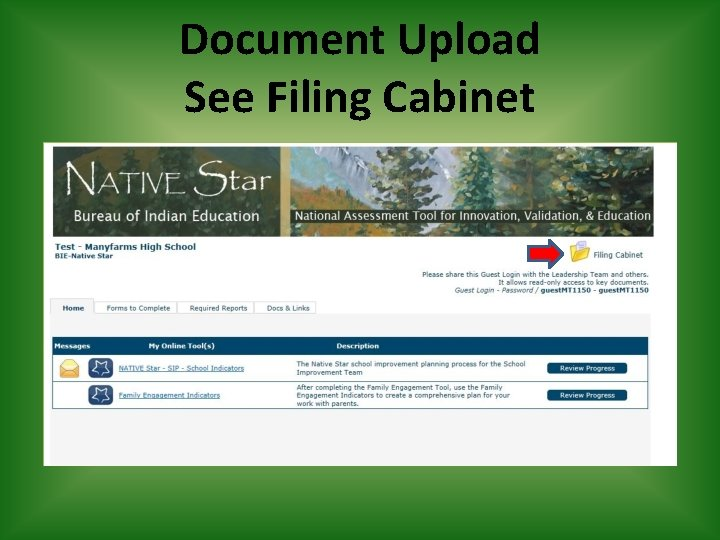 Document Upload See Filing Cabinet