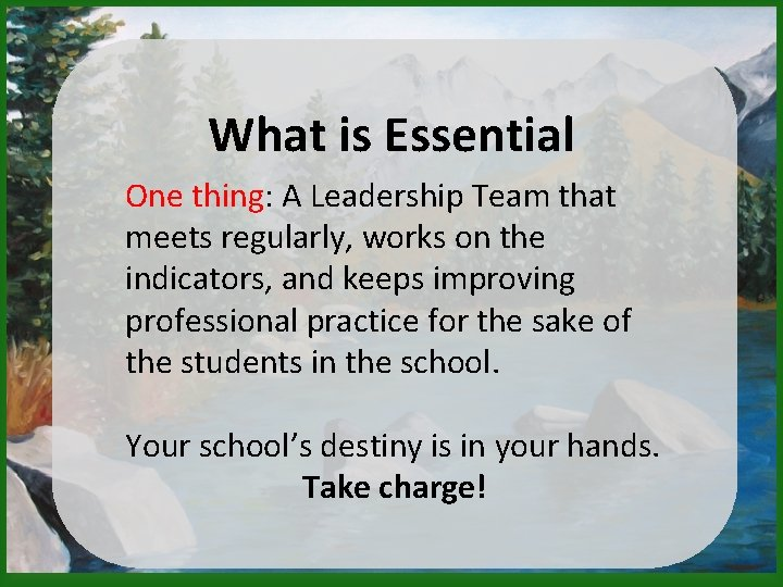 What is Essential One thing: A Leadership Team that meets regularly, works on the