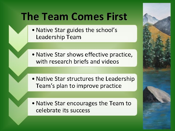 The Team Comes First • Native Star guides the school's Leadership Team • Native