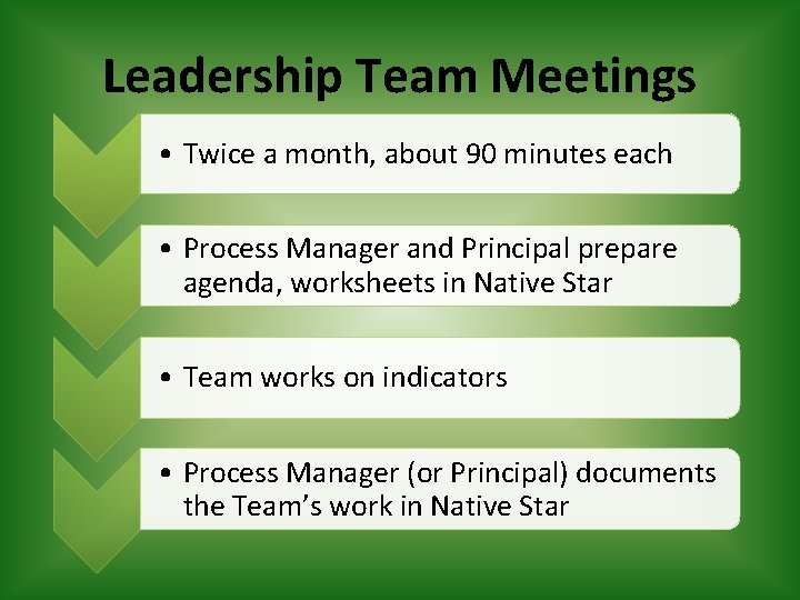 Leadership Team Meetings • Twice a month, about 90 minutes each • Process Manager