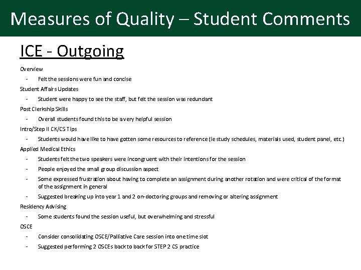Measures of Quality – Student Comments ICE - Outgoing Overview - Felt the sessions