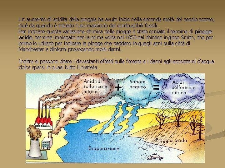 Un aumento di acidità della pioggia ha avuto inizio nella seconda metà del secolo