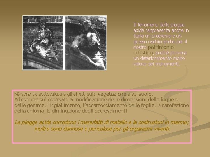 Il fenomeno delle piogge acide rappresenta anche in Italia un problema e un grosso