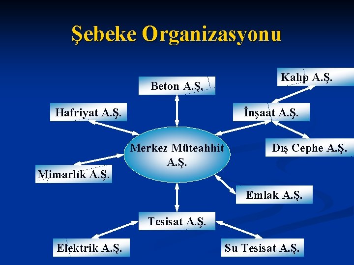 Şebeke Organizasyonu Beton A. Ş. Hafriyat A. Ş. Mimarlık A. Ş. Kalıp A. Ş.