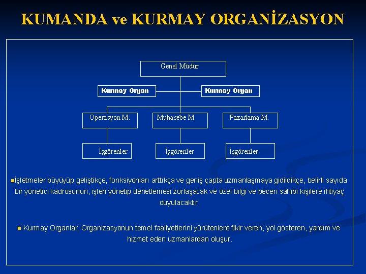 KUMANDA ve KURMAY ORGANİZASYON Genel Müdür Kurmay Organ Operasyon M. İşgörenler nİşletmeler Kurmay Organ