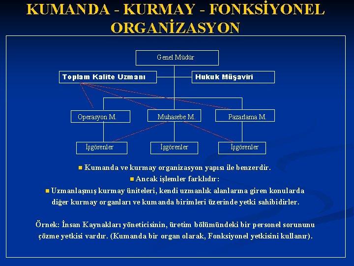 KUMANDA - KURMAY - FONKSİYONEL ORGANİZASYON Genel Müdür Toplam Kalite Uzmanı Operasyon M. İşgörenler