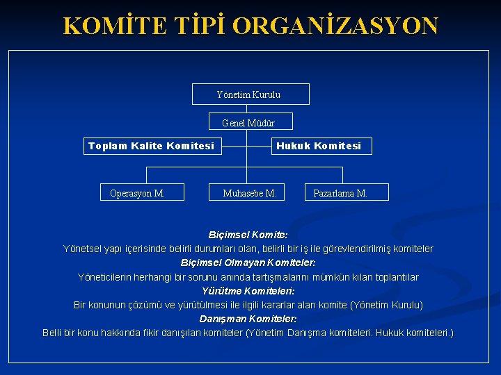 KOMİTE TİPİ ORGANİZASYON Yönetim Kurulu Genel Müdür Toplam Kalite Komitesi Operasyon M. Hukuk Komitesi