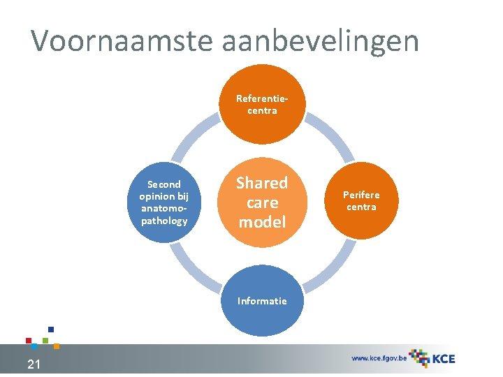 Voornaamste aanbevelingen Referentiecentra Second opinion bij anatomopathology Shared care model Informatie 21 Perifere centra