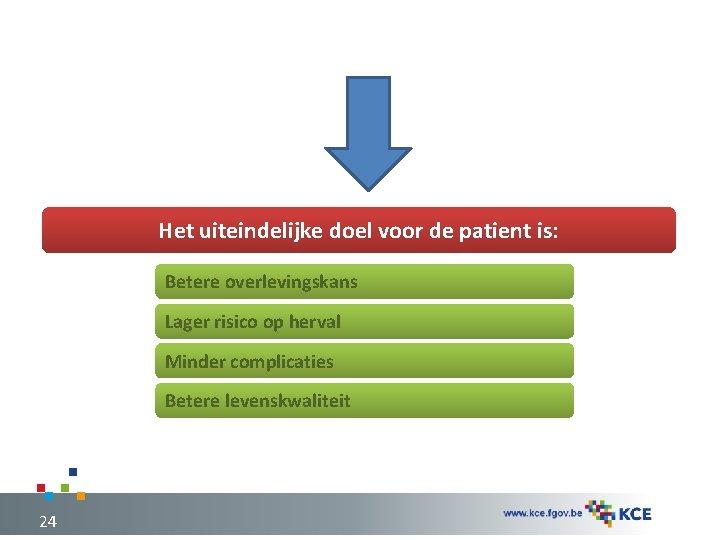 Het uiteindelijke doel voor de patient is: Betere overlevingskans Lager risico op herval Minder