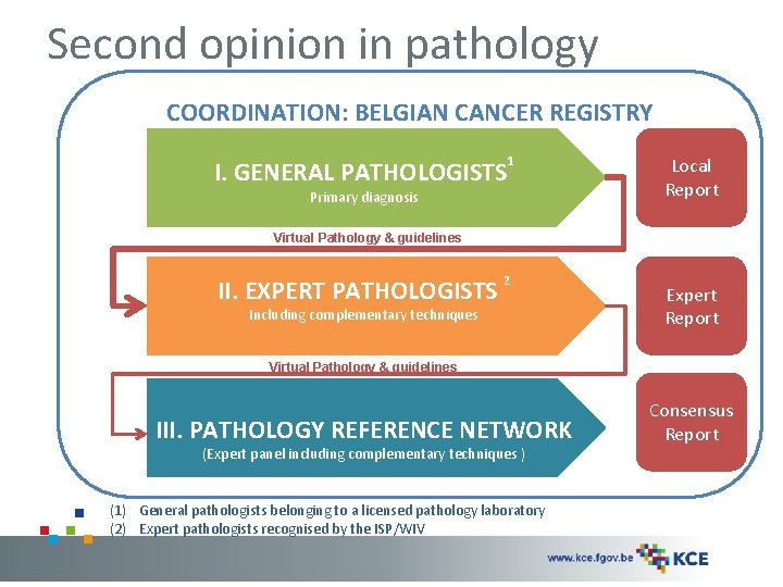 Second opinion in pathology COORDINATION: BELGIAN CANCER REGISTRY I. GENERAL PATHOLOGISTS 1 Primary diagnosis