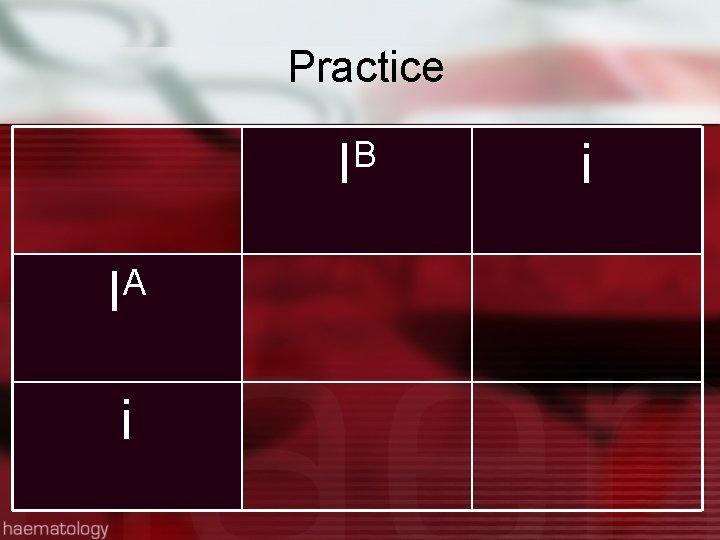 Practice B I A I i i