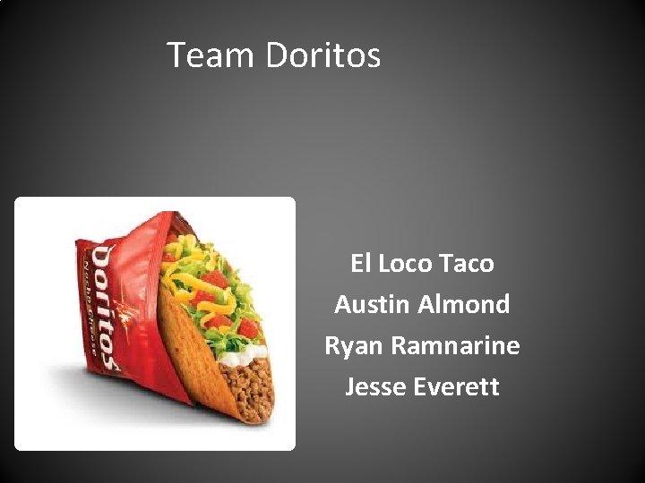 Team Doritos El Loco Taco Austin Almond Ryan Ramnarine Jesse Everett