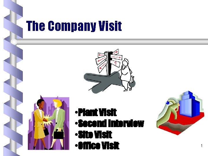 The Company Visit • Plant Visit • Second Interview • Site Visit • Office