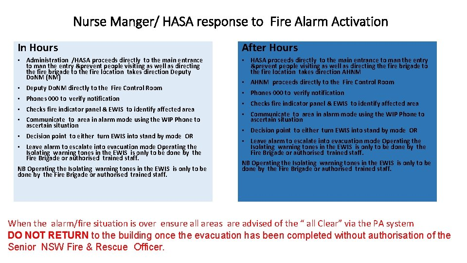 Nurse Manger/ HASA response to Fire Alarm Activation In Hours After Hours • Administration