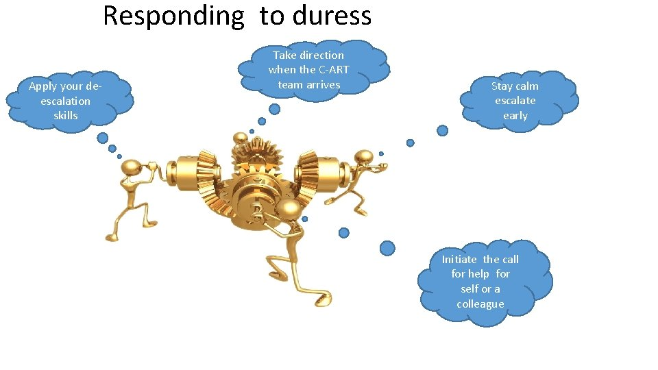 Responding to duress Apply your deescalation skills Take direction when the C-ART team arrives